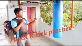 Punch and kick practice by laxman singh at waliv, vasai | how to kick | how to punch | mma boxing